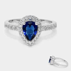 Crystal cubic zirconia CZ pear shape halo ring